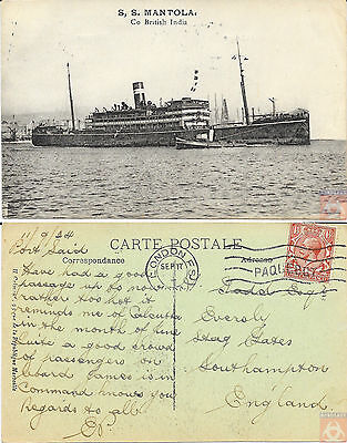 Angleterre - Carte Postale PAQUEBOT - MANTOLA - Posted at Sea 1924 - London F.S.