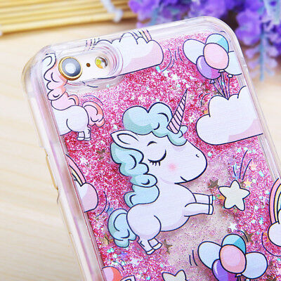 unicorn líquido Quicksand duro PC funda carcasa para iPhone 7 6s Samsung Galaxy