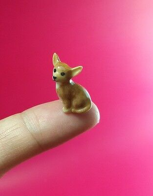 Adorable Chihuahua dogs Miniature Handmade Collectible Craft Ceramic figurine