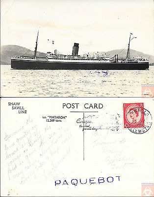Angleterre - Carte Postale PAQUEBOT - MATAROA - Posted at Sea 1955 - Willemstad
