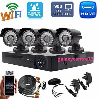 Outdoor Smart 4CH HD DVR 1080P CCTV Home Security Camera System Kit