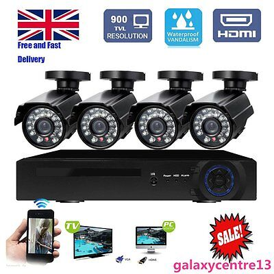 Waterproof  4CH 1080P DVR HD Home CCTV Security Camera System Outdoor Day/Night