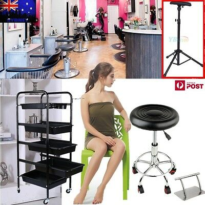 Salon Stool Swivel Barber PU -Salon Trolley Storage Cart- SS Foot Rest/ Rest Pad