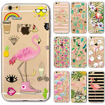 Ultra Fino Gel Blando flamingo pattern Funda Carcasa para iPhone 5s 6 6s 7 Plus