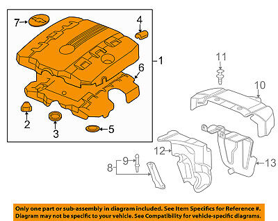 oem new engine appearance cover yellow v6 3 6l 10 13 chevrolet  chevy 36l engine diagram #10