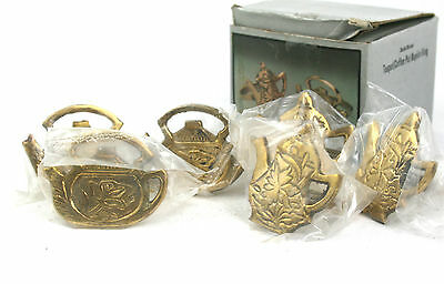 Vintage Indian Brass Teapot & Coffee Pot Napkin Rings Set of 6 Never Used