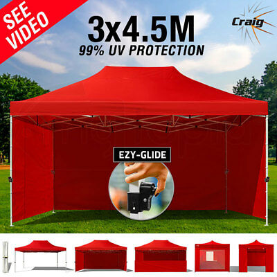 New 3x4.5m Gazebo Outdoor Ezy-Glide RED Shade Pop Up Folding Marquee