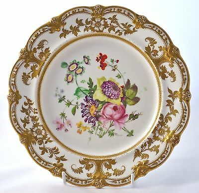 "Antique Signed *j. Rouse* Hand Painted And Gilded 8.5"" Floral Cabinet Plate"