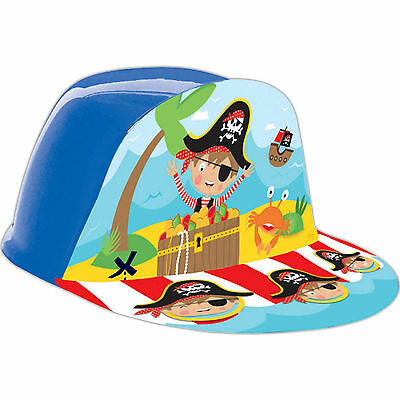 6 Cute Little Pirate Children's Birthday Party Plastic Party Cap Hats