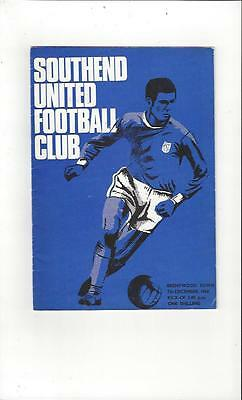 Southend United v Brentwood Town FA Cup Football Programme 1968/69
