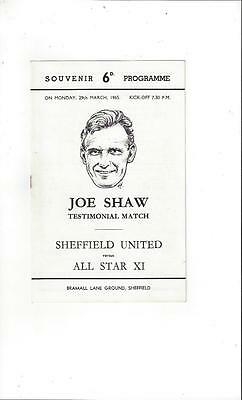 Sheffield United v All Star X1 Joe Shaw Testimonial Football Programme 1965