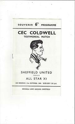 Sheffield United v All Star X1 Cec Coldwell Testimonial Football Programme 1966