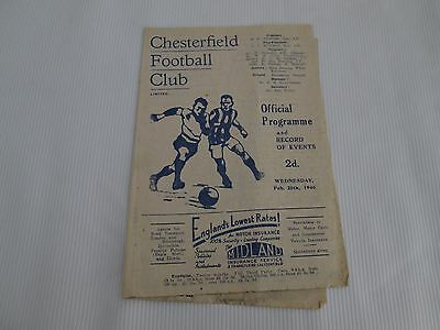 1945-46 LEAGUE 2 NORTH CHESTERFIELD v SHEFIELD WEDNESDAY