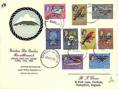 A71 1963 TRISTAN DA CUNHA Resettlement FDC  SIGNED COVER *Chief Wille Repetto*