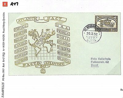 A47 1952 PORTUGAL Illustrated *Atlantic Pact* FDC {samwells-covers}