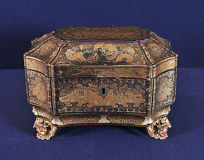 Antique Chinese Lacquer Tea Caddy, 19th century