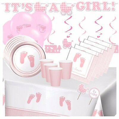 PLAID BABY GIRL - Pink Baby Shower Party Supplies,Games,Tableware,Decorations
