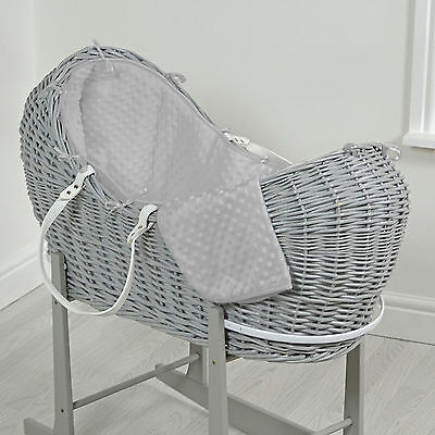 New 4Baby Grey Dimple Grey Wicker Baby Moses Basket / Snooze Pod & Mattress