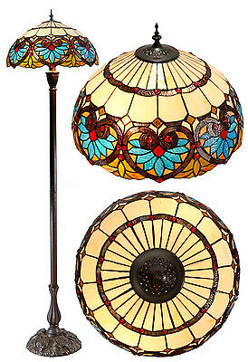 "Large 18"" Amazing ""Boheme"" Tiffany Floral Stained Glass Handcrafted Floor Lamp"