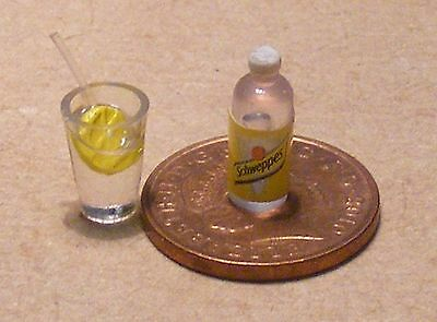 1:12 Scale Glass Of Gin & Tonic Water Dolls House Miniature Drink Pub Accessory
