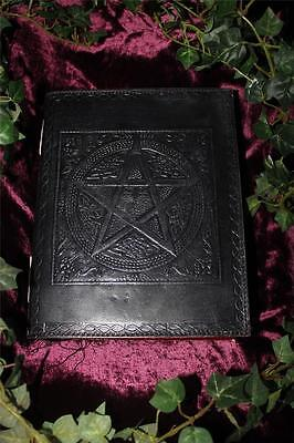 Black Pentacle Leather Bound Large Journal/book Of Shadows ~ Hand Made Paper