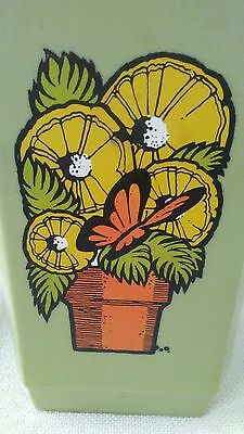 vintage plastic canister retro flowers and butterfly
