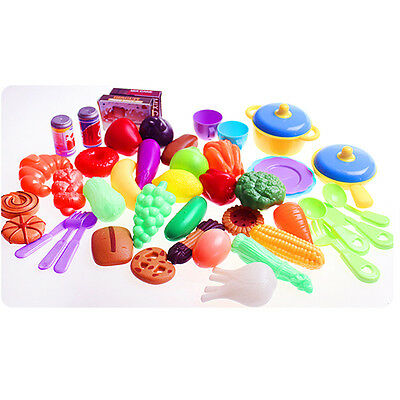 Kid Kitchen Food Pretend Play Toy Basket Cutting Vegetable Fruit Education Toys