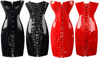 Lingerie Black Red PVC Faux Leather Corset Dress Gothic Clubwear Halloween 8-16