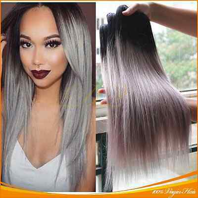 """16+18+20"""", 7A Ombre Silver Grey Tone Brazilian Straight Human Hair Weaves, 300g"""
