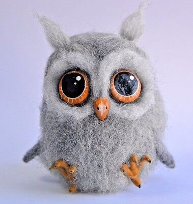 Handmade Funny Owl Needle Felted Sculpture Artist  Wool Miniature Toy 4.5in