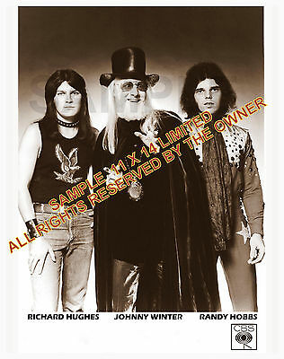 JOHNNY WINTER ,HUGHES,HOBBS PROMO 1973 11x14 HIGH QUALITY LIMITED ISSUE SEPIA