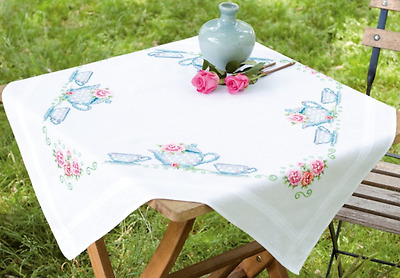 Vervaco Tablecloth kit Tea Time printed for cross stitch 80 x 80 cm