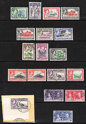 BR SOLOMON IS. 1937-39. GVI Definitive Set to 5/- + Coronation ++.  VFU. Sg57-71