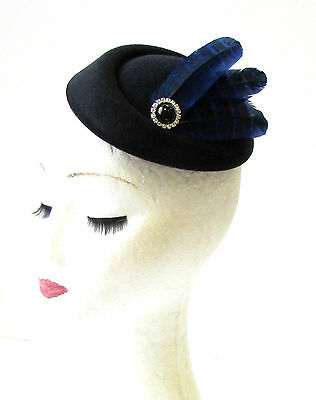 Royal Blue Black Silver Feather Pillbox Hat Races Fascinator Headpiece Vtg 1992