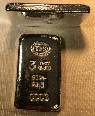 3 oz Hand Poured 999 Silver Bullion Bar by Yeager's Poured Silver YPS