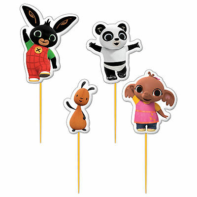 4 Bing The Bunny Children's Birthday Party Star Pick Cake Topper Candles