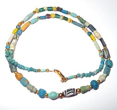 ANCIENT GLASS BEADS necklace - modern restring 24 inch - 2000 to 2500 years old