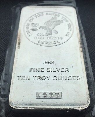 10 Oz Tri-State Refining & Investment 999 Fine Silver Bar - Ten Troy Ounces