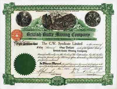 British Butte Mining Company 1907 Butte Montana C.W. Syndicate London Hodgson 50