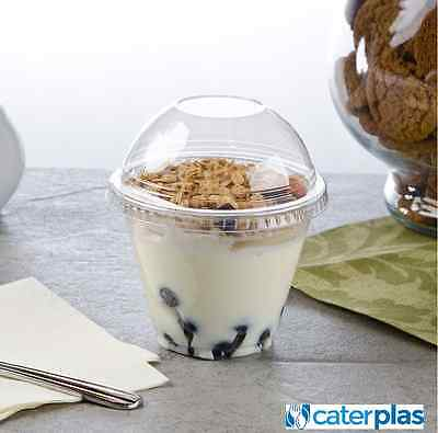 9 oz Clear Dessert Breakfast Pots Smoothie Cups Dome Flat or no lids Disposable