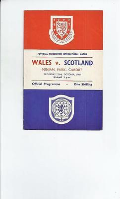 Wales v Scotland  at Cardiff  Football Programme 1960