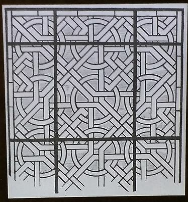 Stained Glass Pattern Drawing, Pontigny Abbey, France, Magic Lantern Glass Slide