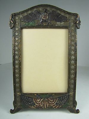 Antique American Flags Eagle w Shield Stars Cast Iron Decorative Arts Frame