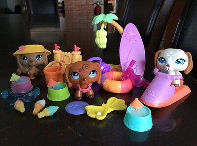 LPS Littlest Pet Shop Lot Of 3 RARE Dachshund Dog # 640 518 1491 + Accessories