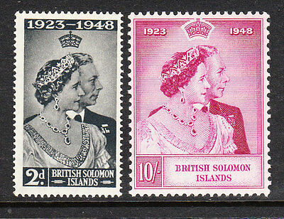 BR SOLOMON IS. 1949. GVI ROYAL SILVER WEDDING. MNH. Sg75-6