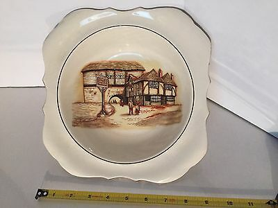 Lancaster Sandland English China 9 Inch Square Bowl The Jolly Drover Old Crazing