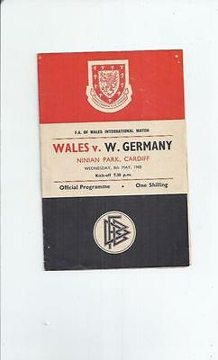 Wales v West Germany at Cardiff  Football Programme 1968