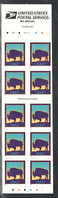 SC#3484d - 21c Bison Booklet Pane of 10 MNH Never Folded P#P11111
