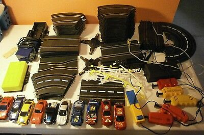 Slot Car Lot--Track-Cars-Controllers-yellow & white barriers, etc.