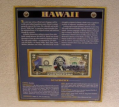Hawaii  $2 Two Dollar Bill - Colorized State Landmark - Uncirculated Authentic